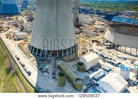Construction Site Of The New Modern Power Station Aerial View