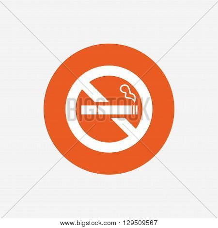 No Smoking sign icon. Quit smoking. Cigarette symbol. Orange circle button with icon. Vector