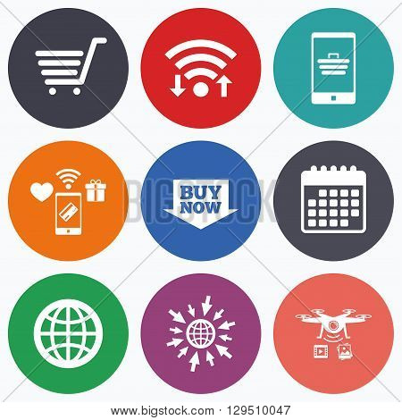 Wifi, mobile payments and drones icons. Online shopping icons. Smartphone, shopping cart, buy now arrow and internet signs. WWW globe symbol. Calendar symbol.