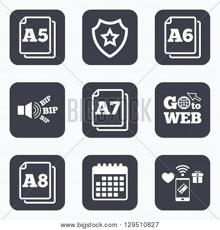 Mobile payments, wifi and calendar icons. Paper size standard icons. Document symbols. A5, A6, A7 and A8 page signs. Go to web symbol.