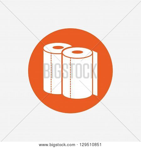 Paper towels sign icon. Kitchen roll symbol. Orange circle button with icon. Vector