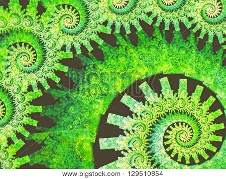 Abstract fractal background - computer-generated green image. Fractal geometry - a plurality of repeating spirals of different sizes. For banners, posters, prints and web-design.