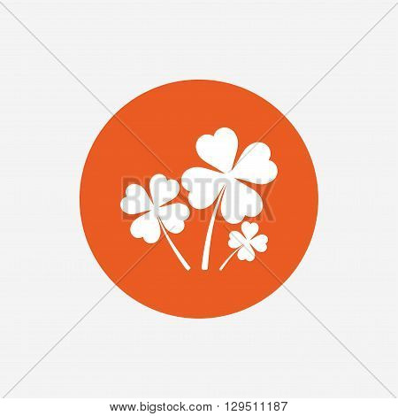 Clovers with four leaves sign icon. Saint Patrick symbol. Orange circle button with icon. Vector