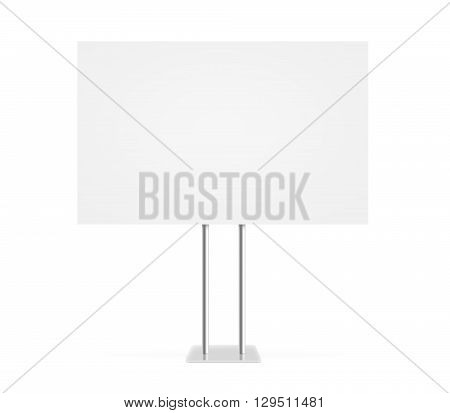 Information board mock up stand isolated. Billboard mockup. Support table. Stand on white background. Blank signage stand. Clear plain banner stand. Empty plate plank panel display.