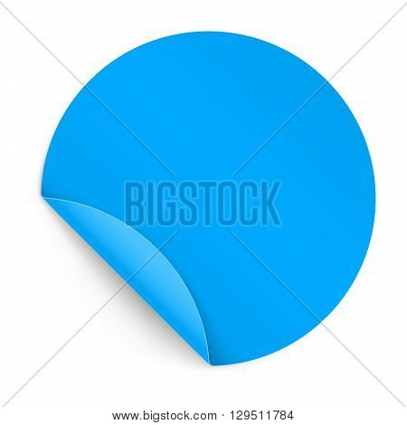 Illustration of Blue Paper Notepad in Circle Form with Bended Coner