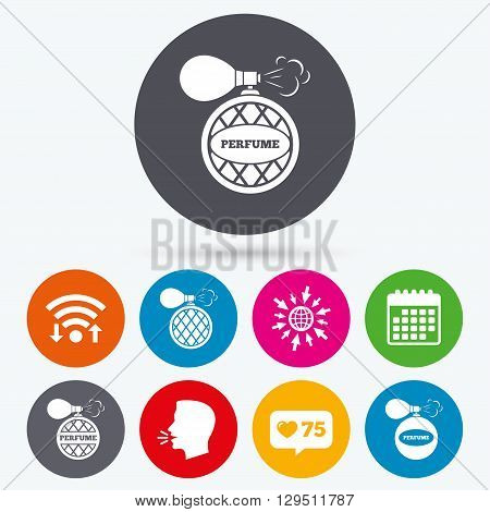 Wifi, like counter and calendar icons. Perfume bottle icons. Glamour fragrance sign symbols. Human talk, go to web.