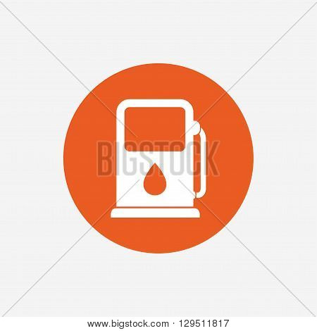 Petrol or Gas station sign icon. Car fuel symbol. Orange circle button with icon. Vector