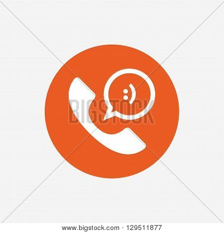 Phone sign icon. Support symbol. Call center. Speech bubble with smile. Orange circle button with icon. Vector
