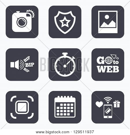 Mobile payments, wifi and calendar icons. Hipster retro photo camera icon. Autofocus zone symbol. Stopwatch timer sign. Landscape photo frame. Go to web symbol.