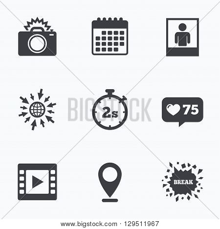 Calendar, like counter and go to web icons. Photo camera icon. Flash light and video frame symbols. Stopwatch timer 2 seconds sign. Human portrait photo frame. Location pointer.