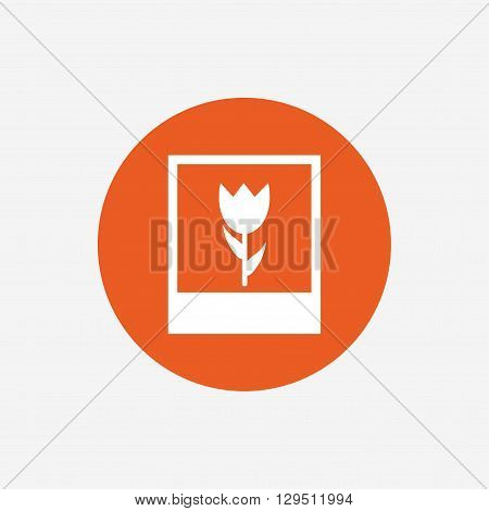 Macro photo frame sign icon. Flower photography symbol. Orange circle button with icon. Vector