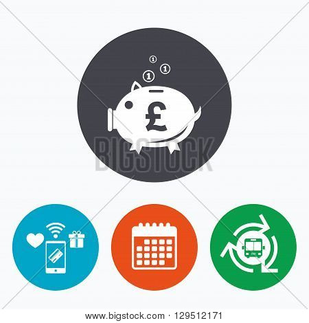 Piggy bank sign icon. Moneybox pound symbol. Mobile payments, calendar and wifi icons. Bus shuttle.