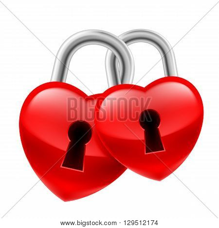 Red heart locks with keyholes chained together as symbol of strong love
