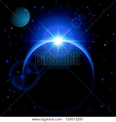 Dark planet with blue radiance and bright flare in open space