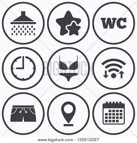 Clock, wifi and stars icons. Swimming pool icons. Shower water drops and swimwear symbols. WC Toilet sign. Trunks and women underwear. Calendar symbol.