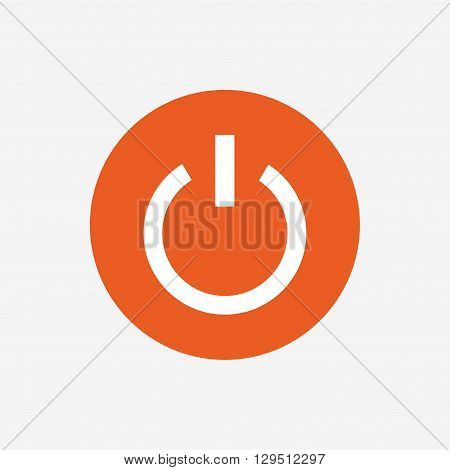 Power sign icon. Switch on symbol. Turn on energy. Orange circle button with icon. Vector