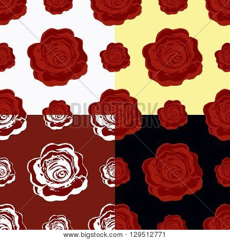 Set Of Seamless Pattern Of Maroon Roses. Vector Illustration