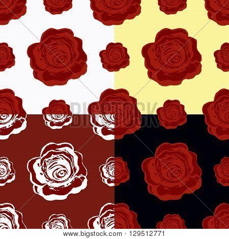 Set Of Seamless Pattern Of Maroon Roses. Vector Illustration