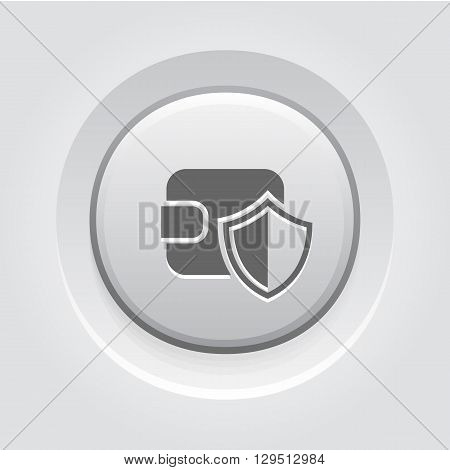 Wallet Protection Icon. Business Concept Grey Button Design