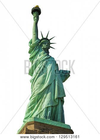 Statue of Liberty in New York City isolated on white