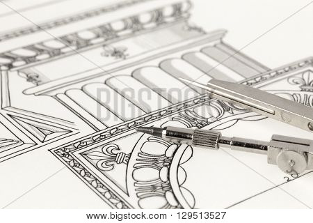 drawings of architectural details - columns element & compass