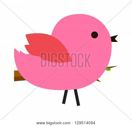 Cartoon pink sparrow. Illustration pink cute bird on white background. Pink cute bird vector and little pink cute bird. Pink cute bird animal cartoon colorful design. Nature bird character animal.