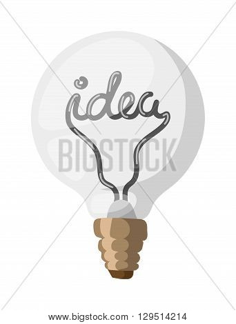 Vector light bulb icon with concept of idea. Doodle idea lamp sign. Illustration idea lamp electricity symbol and idea lamp electric bright drawing graphic. Business simple technology idea lamp.