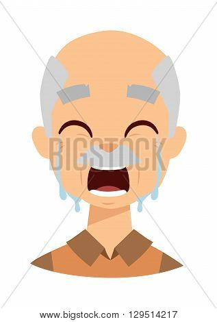 Female senior citizen. Lonely crying grandpa vector. Crying grandpa tears on eyes and man problem stress crying grandpa. Crying grandpa unhappy despair man and crying grandpa frustration headache.