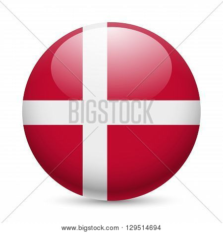 Flag of Denmark as round glossy icon. Button with Danish flag