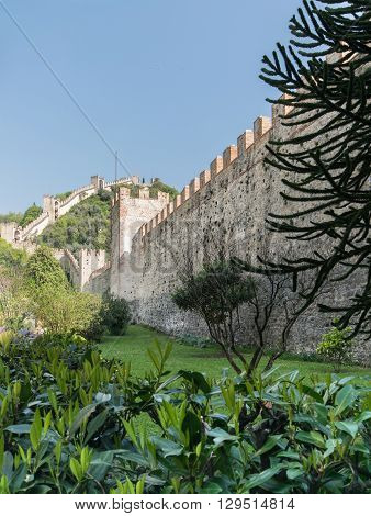 Walls surrounding the medieval town of Marostica Italy.
