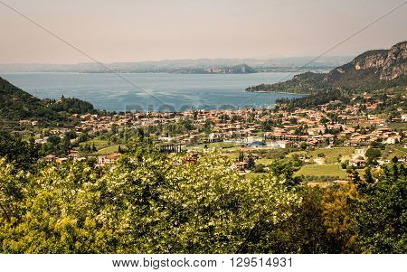 Garda lake and Garda city views from the surrounding hills