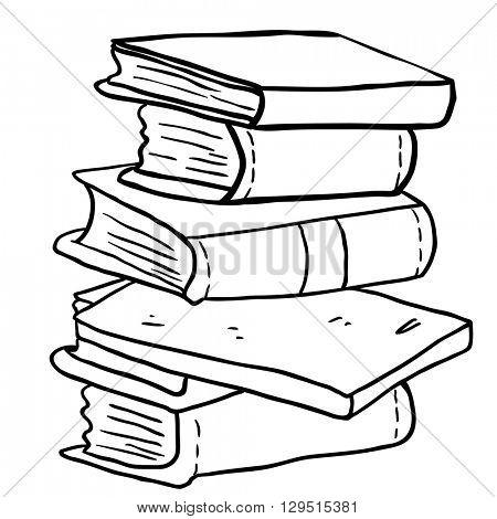 black and white pile of books cartoon illustration