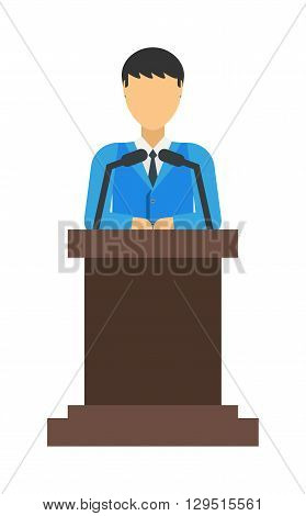 Speaker talk vector silhouette illustration and speaker silhouette public communication. Speaker silhouette conference politician presentation, speaker silhouette talk person government people.