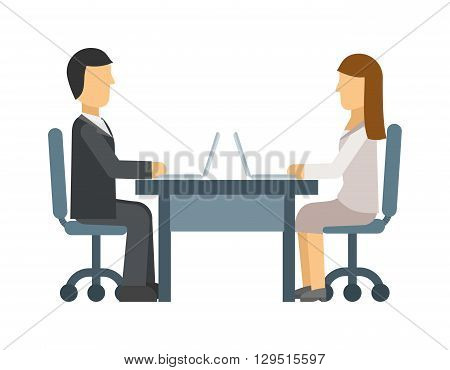 Love affair at work romance between two colleagues. Coworking man and woman being love with each other. Vector love affair at work. Concept for office romance, flirting at work, love affair at work.