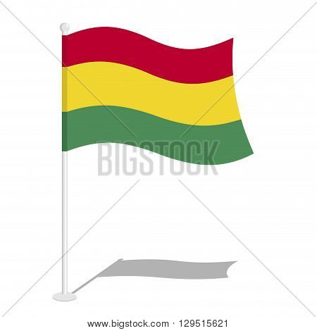 Bolivia Flag. Official National Symbol Of Bolivia Rspubliki. Traditional Bolivian Flag Growing State