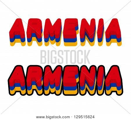 Armenia Typography. Text Of Armenian Flag. Emblem Of  European Countries On White Background. Letter