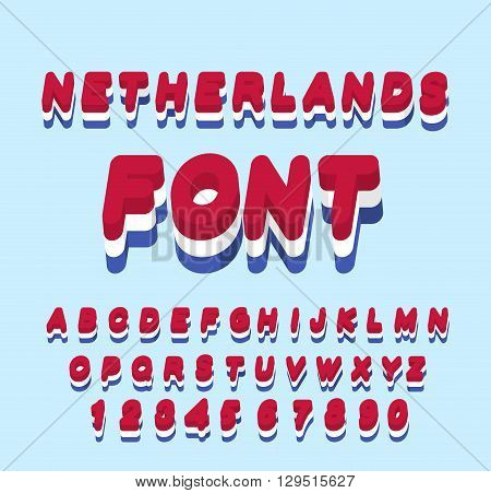 Netherlands Font. Dutch Flag Onletters. National Patriotic Alphabet. 3D Letter. State Color Symbolis
