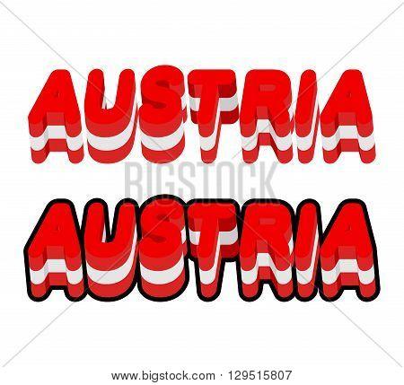 Austria Typography. Text Of Austrian Flag. Emblem Of  European Countries On  White Background. Lette