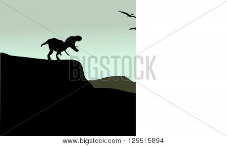 Silhouette of pterodactyl and tyrannosaurus in cliff