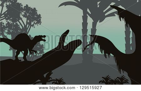 spinosaurus in forest scenery silhouette and tree