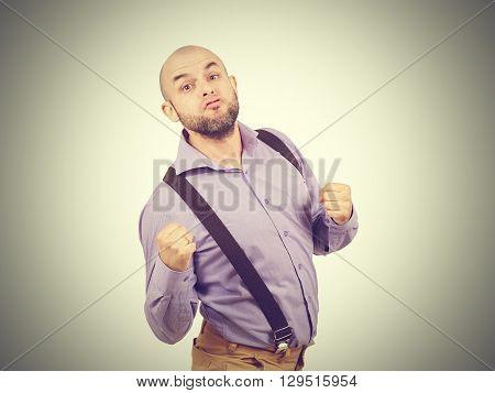 Funny Bald Businessman Boxer.