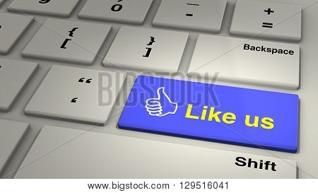 Keyboard with like us enter button and thumbs up closeup yellow on blue 3D illustration