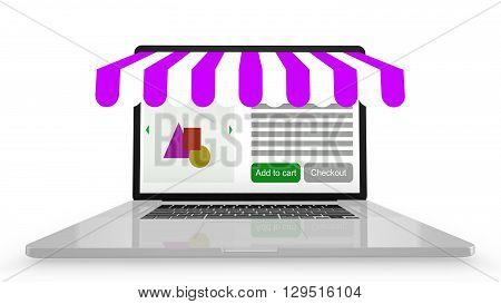 3D illustration concept of online shopping showing a notebook with a canopy and a shopping screen