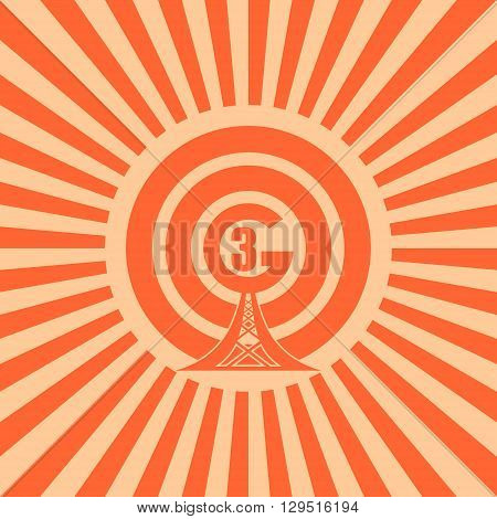 Wi Fi Network Symbol . Mobile gadgets technology relative vector image. Sun rays background. 3G text