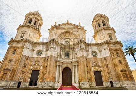 Facade of the famous Cathedral of Cadiz in Spanish: Iglesia de Santa Cruz, Cadiz, Andalusia, Spain.