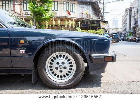 BANGKOK THAILAND - APRIL 24: Jaguar Sovereign parked on the street of Bangkok on March 24 2016 in Bangkok Thailand.
