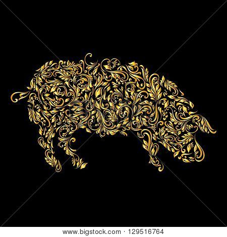 Floral gold pattern of vines in the shape of a pig on a black background