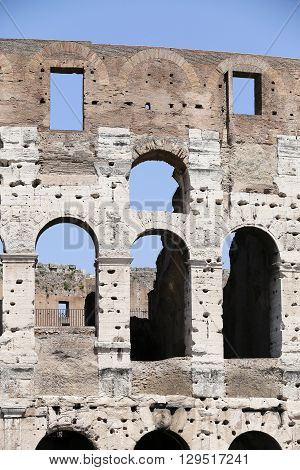 detail of ruins of coliseum rome italy