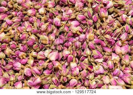 close up of Dried rosebuds background texture