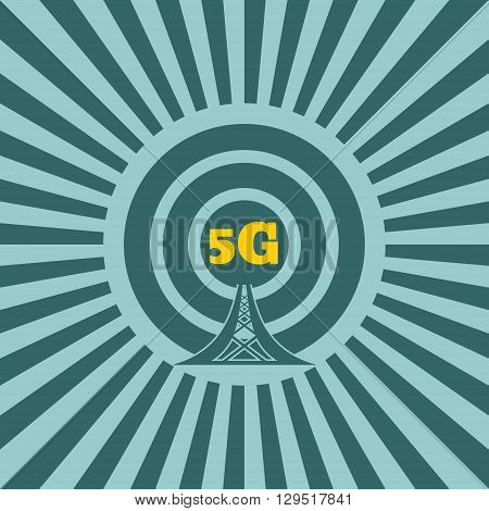 Wi Fi Network Symbol . Mobile gadgets technology relative vector image. Sun rays background. 5G text